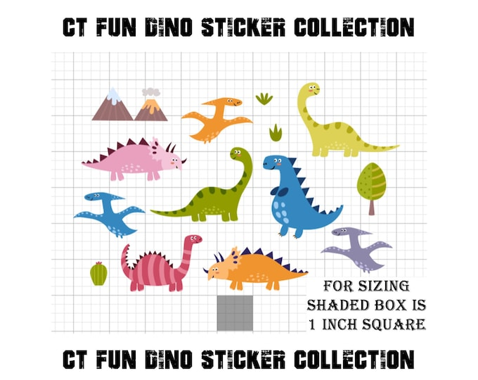 Dinosaurs Stickers glossy or vinyl stickers with or without laminate coating, fun dinosaurs stickers for walls, laptops, books