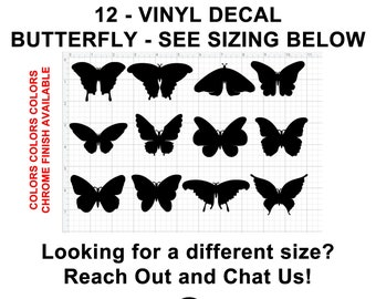 12 Butterfly Vinyl Decals see image for sizing also various sizes and colors - colours