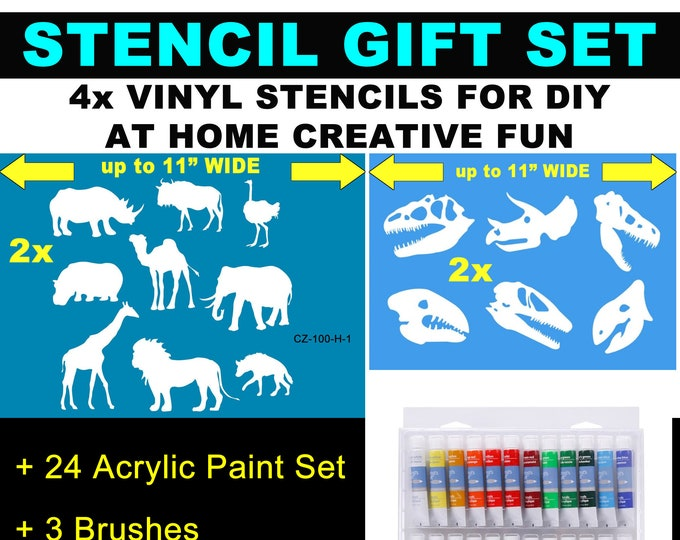 4X Custom Stencil Gift Set with 24 Acrylic Paints + 3 brushes Custom stencil for diy projects.  Airbrush, wood, painting, custom image/text