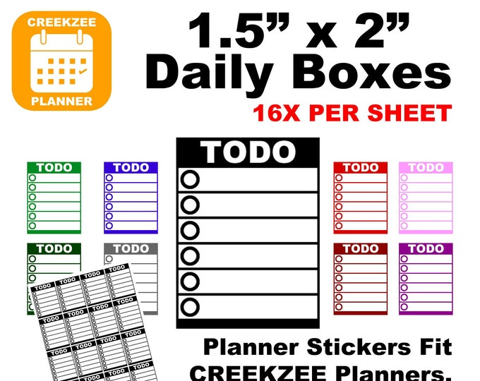 "1.5"" x 2"" Daily Boxes Planner Stickers (16 per sheet) fit Erin Condren Planners, Happy Planners, Creekzee Planners and more..."