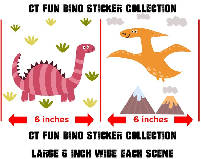 2x Dinosaurs Stickers glossy or vinyl stickers with or without laminate coating, fun dinosaurs stickers for walls, laptops, books