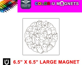 """Cat ghosts magnet you color, large 6.5"""" x 6.5"""" flexible flat magnet you color then stick on your fridge or metal surface etc. fun for kids!"""