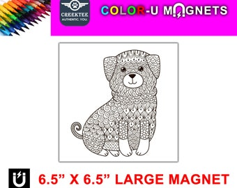 "Dog puppy magnet you color, large 6.5"" x 6.5"" flexible flat magnet you color then stick on your fridge or metal surface etc. fun for kids!"