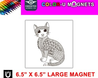 """Cat magnet you color, large 6.5"""" x 6.5"""" flexible flat magnet you color then stick on your fridge or metal surface etc. fun for kids!"""