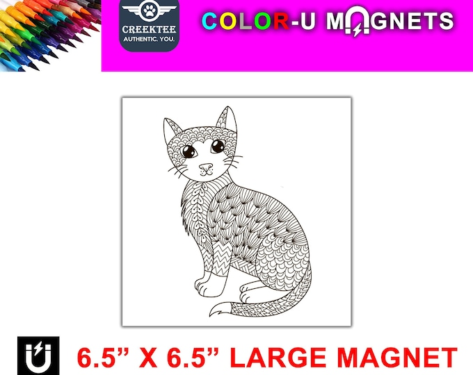 "Cat magnet you color, large 6.5"" x 6.5"" flexible flat magnet you color then stick on your fridge or metal surface etc. fun for kids!"