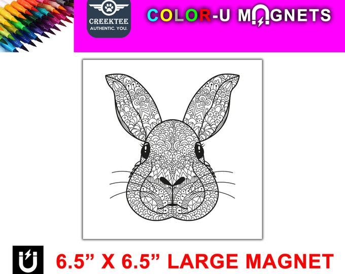 "Rabbit bunny magnet you color, large 6.5"" x 6.5"" flexible flat magnet you color then stick on your fridge or metal surface etc. fun for kids"