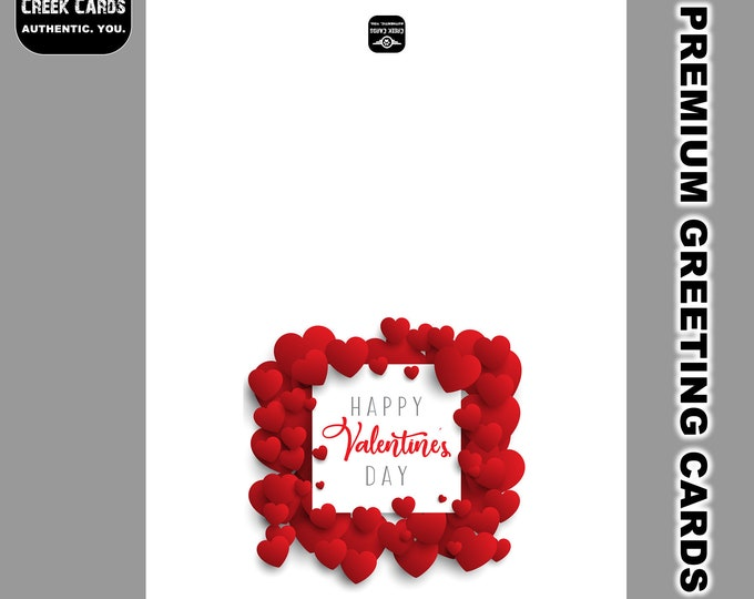 Valentines Day Premium Greeting Card Triple Layer with Laminate Coating. 5.25-5.5 inches high by 4-4.25 inches wide