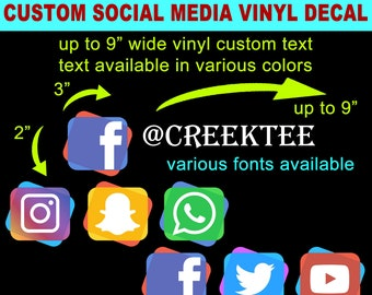 Social Media Custom Vinyl Car Decal, Modern, Various Colors and Fonts Available, Die Cut For Windows, Laptops, Water Bottles