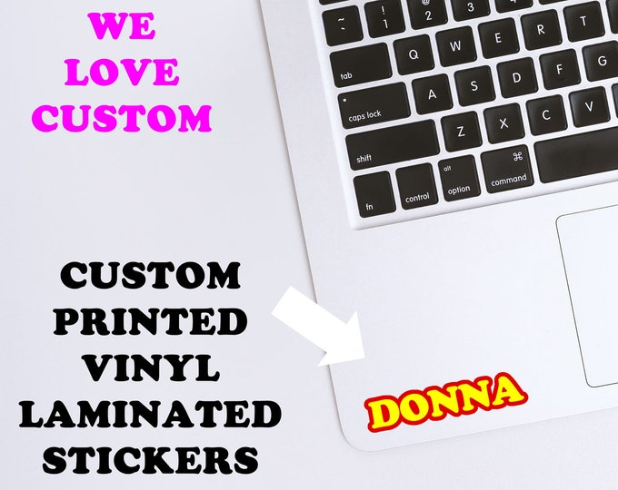 Vinyl printed name decals, water bottle, phone decal, bumper sticker, laptop sticker, school label, full color with laminate coating