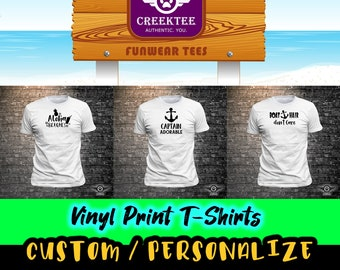 Fun custom t-shirts with vinyl print or lettering, customize your tee today and get ready for the warm weather