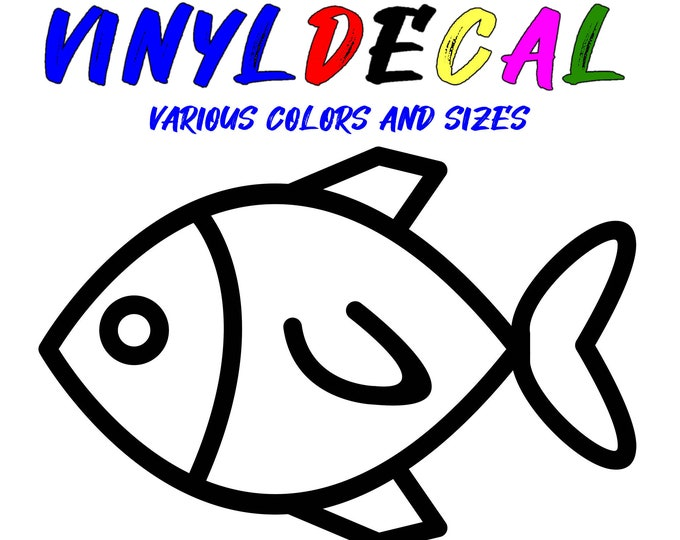 Fish vinyl decal in various sizes or colors