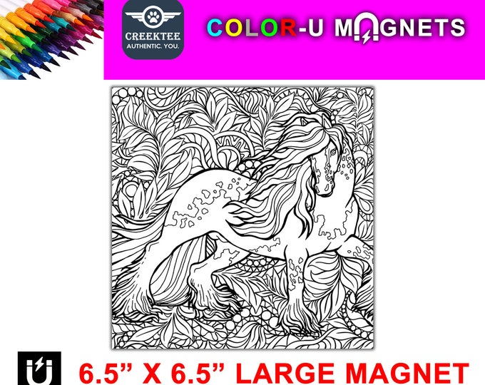 "Unicorn magnet you color, large 6.5"" x 6.5"" flexible flat magnet you color then stick on your fridge or metal surface etc. fun for kids"