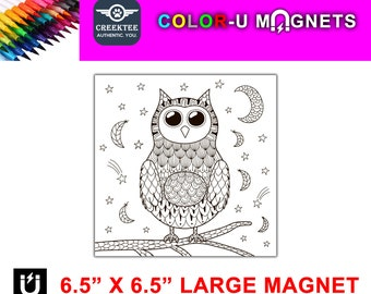 "Owl magnet you color, large 6.5"" x 6.5"" flexible flat magnet you color then stick on your fridge or metal surface etc. fun for kids"