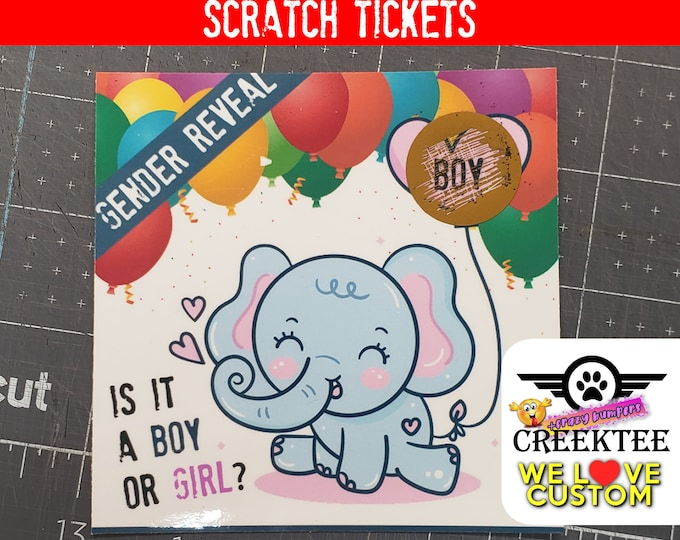 """Scratch Gender Reveal 4"""" x 4"""" Laminated Card Inserts - Boy or Girl options , 2, 5, 10, 20 options available."""