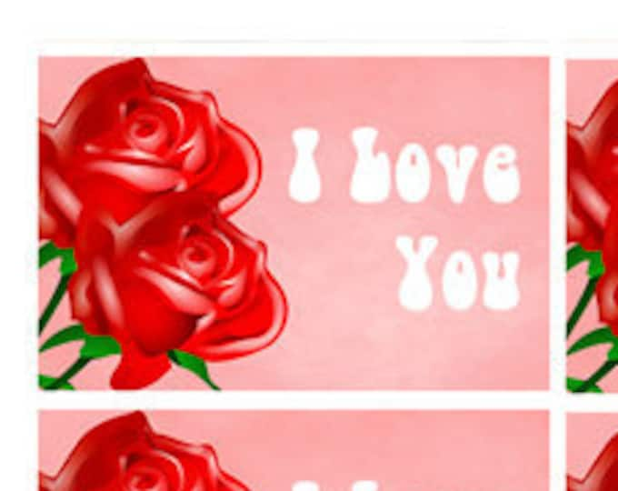 8 Fun 3 inch x 2 inch Stickers -I Love You Stickers