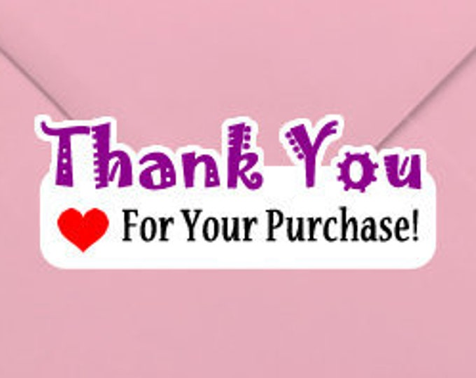 Thank You For Your Purchase 1.25 x 3 Stand Out Kiss Cut Vinyl Sticker (Sheet of 14)