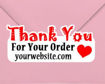 Thank You For Your Order with Website URL 1.25 x 3 Stand Out Kiss Cut Vinyl Sticker (Sheet of 14)