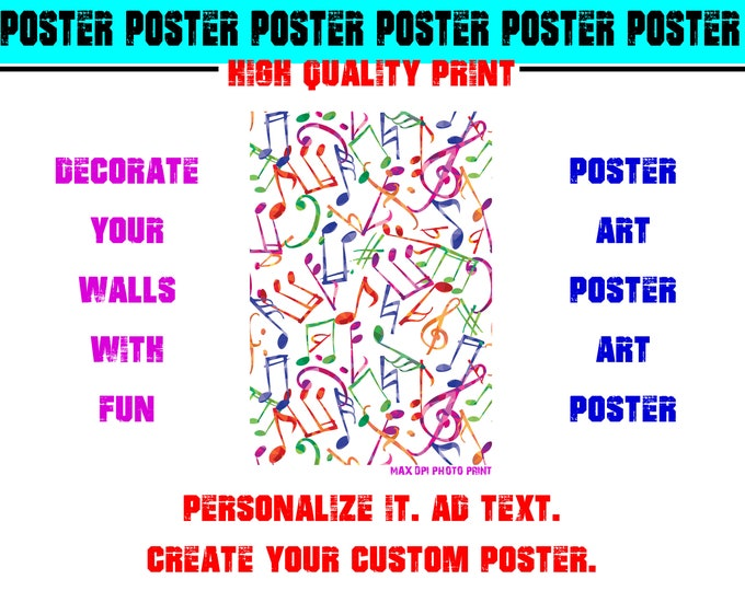 Musical Notes Poster Photo Print Art Fun Poster Various Sizes High Quality Print