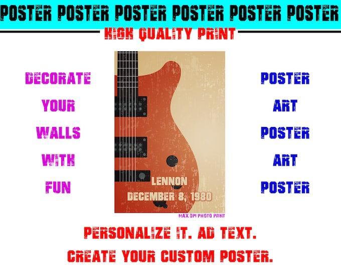 Lennon Guitar Memory Poster Photo Print Art Fun Poster Various Sizes High Quality Print