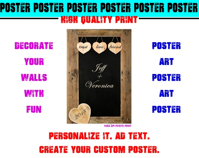 Personalized Couple Love Poster Photo Print Art Fun Poster Various Sizes High Quality Print