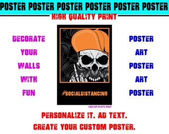 Skull Social Distancing Poster Photo Print Art Fun Poster Various Sizes High Quality Print