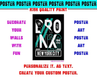 New York City Bronx Urban Style East River Poster Photo Print Art Fun Poster Various Sizes High Quality Print