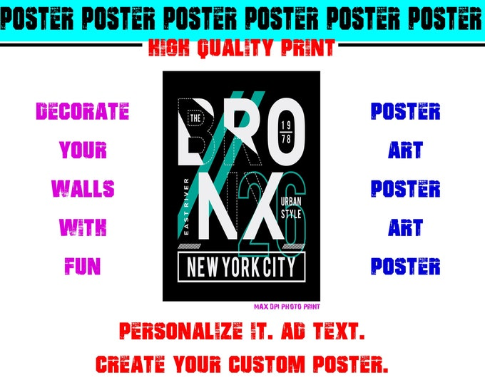 New York City Bronx Urban Style East River Poster Photo Print Art Fun Poster Various Sizes High Quality Print
