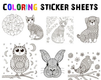 Coloring Sticker Sheets, 7 - 8 1/2 inch wide sticker sheets you can color and stick, cat, dog, owl, rabbit, bunny