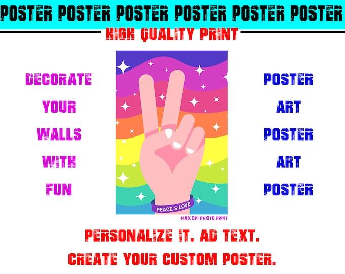 Peace Love Hippie Poster Photo Print Art Fun Poster Various Sizes High Quality Print