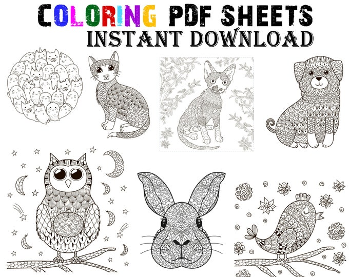 Coloring 7 - 8 1/2 inch wide sheets you can color cat, dog, owl, rabbit, bunny, INSTANT DOWNLOAD PDF