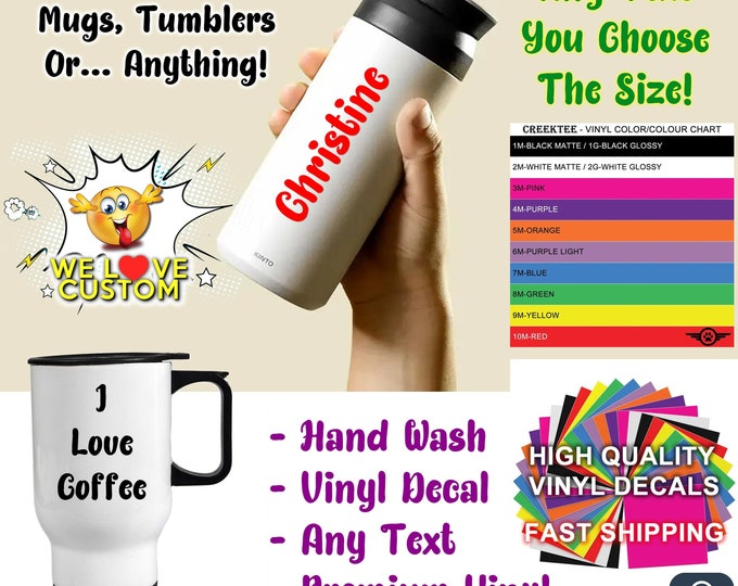 Water Bottle Text Vinyl Decals, You choose the size up to 12 inches also various sizes and colors - colours