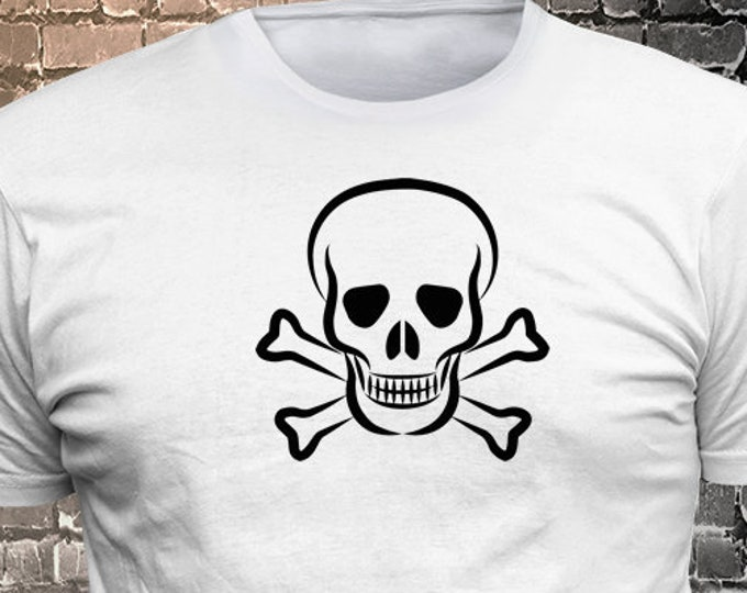 Skull Crossbones Vinyl T-shirt - Funny t-shirt, fun tshirt, Customize your t-shirt... Ask us!