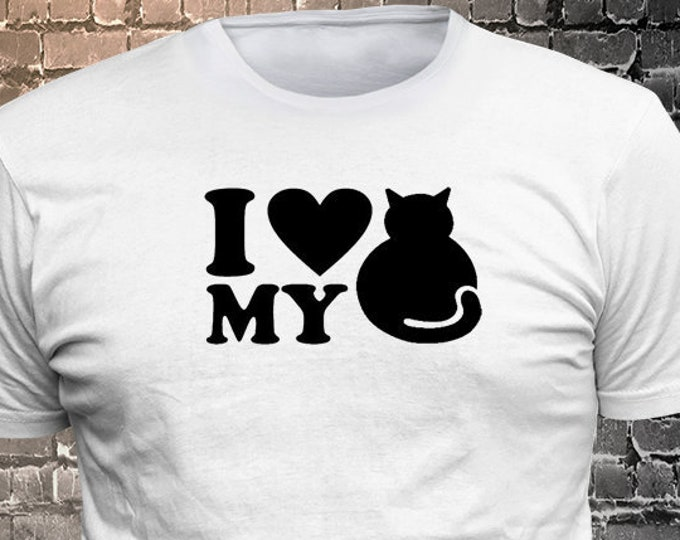 I Love My Cat Long Lasting Vinyl Print T-Shirt - Cat T-Shirt, Cat tshirt