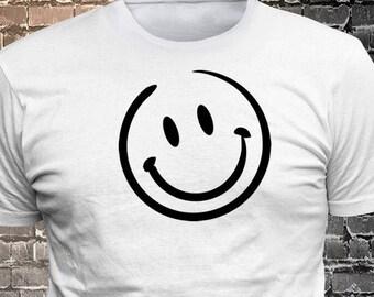 Vinyl Print Smiling Face T-shirt   Gift Funny - 1906-I - Funny t-shirt, fun tshirt, Customize your t-shirt... Ask us!
