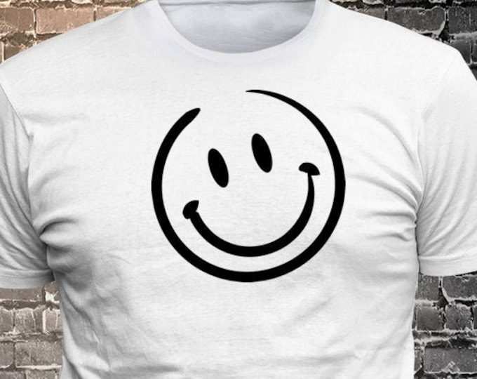 Vinyl Print Smiling Face T-shirt   Gift Funny - 1906-I - Funny t-shirt, fun tshirt, Customize your t-shirt... Ask us!