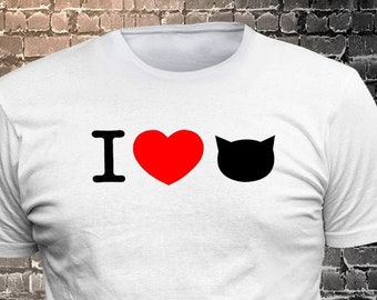I Love Cat Long Lasting Vinyl Print T-Shirt - Cat T-Shirt, Cat tshirt