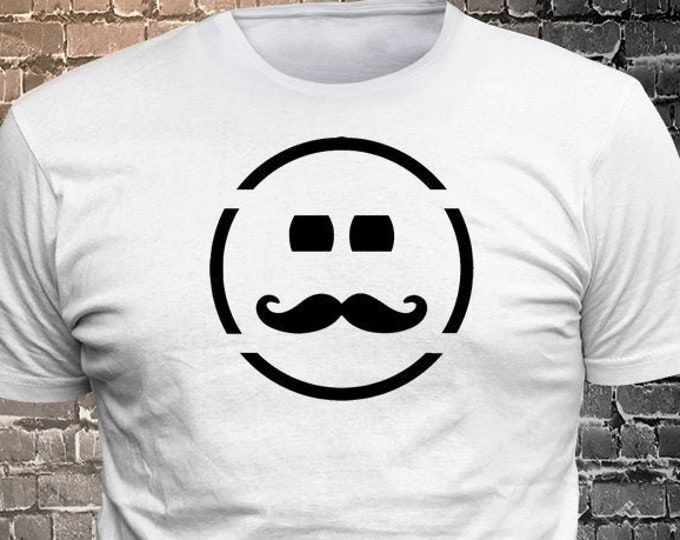 Vinyl Print Smiling Face Moustache T-shirt   Gift Funny - 1906-J - Funny t-shirt, fun tshirt, Customize your t-shirt... Ask us!