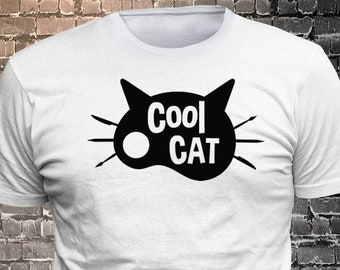 Cool Cat Long Lasting Vinyl Print T-Shirt - Cat T-Shirt, Cat tshirt