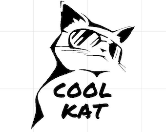 cool kat Vinyl  Funny Cat Decal