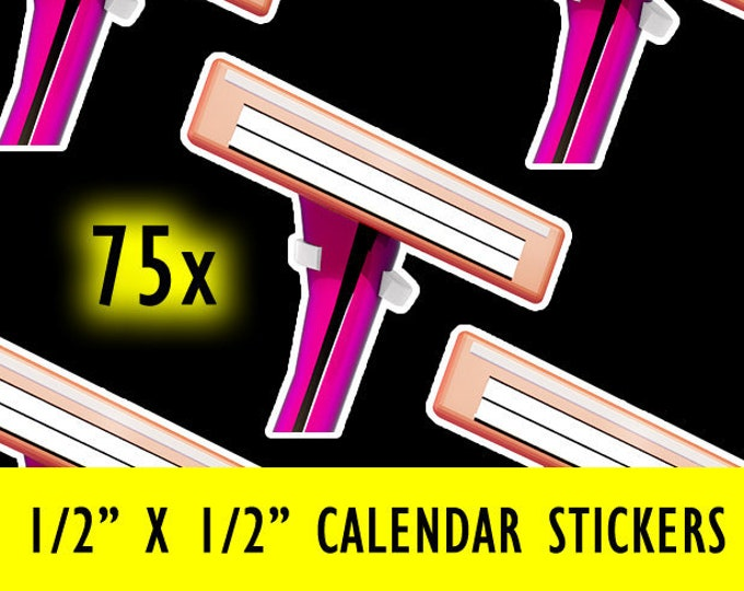 Sheet of 75 Pink Razor Calendar Stickers with White Matte Border / Finish - 1/2 inch by 1/2 inch