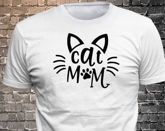 Cat Mom Long Lasting Vinyl Print T-Shirt - Cat T-Shirt, Cat tshirt