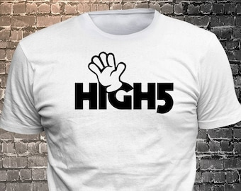 Vinyl Print High Five T-shirt  T-shirt funny tees Unisex Cool Funny T-Shirts Fun Wear Various colors/colours available - 1906-B