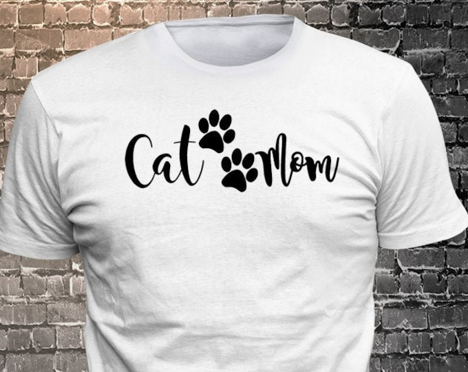 Cat Mom Cat Long Lasting Vinyl Print T-Shirt - Cat T-Shirt, Cat tshirt