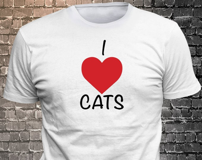 I Love Cats Long Lasting Vinyl Print T-Shirt - Cat T-Shirt, Cat tshirt