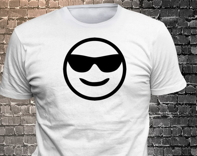 Cool Smiling Face Shades Emoji T-shirt   Gift Funny - 1906-L - Funny t-shirt, fun tshirt, Customize your t-shirt... Ask us!