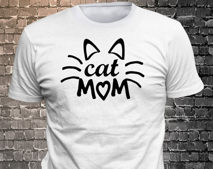 Cat Mom Long Lasting Vinyl Print T-Shirt - Cat T-Shirt, Cat tshirt