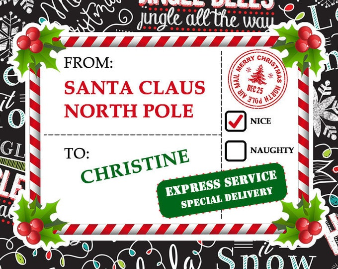 PERSONALIZED 2 Large Fun Christmas Faux Shipping Label Mail Stamp Stickers - Christmas Stamps  for Santa Claus gifts and Christmas Cards
