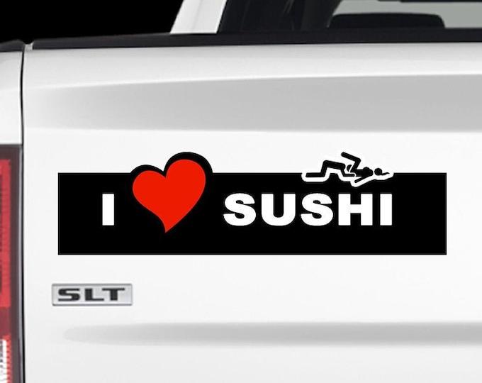 I Love Sushi outline Bumper Sticker 9x2.7 Bumper Sticker or Magnetic Bumper Sticker Available