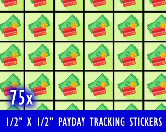 Sheet of 75 Payday Pay Day Tracking Calendar Stickers square stickers Matte Border / Finish - 1/2 inch by 1/2 inch