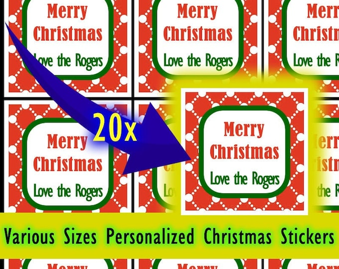 Sheet of 20 Custom / Personalized Christmas Tag Stickers - Glossy Bright or Standard Matte Finish - Square stickers various sizes